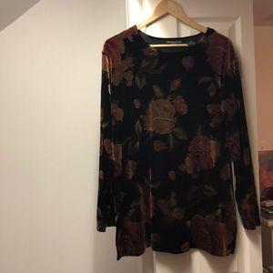 Tops - Floral Velvet Tunic